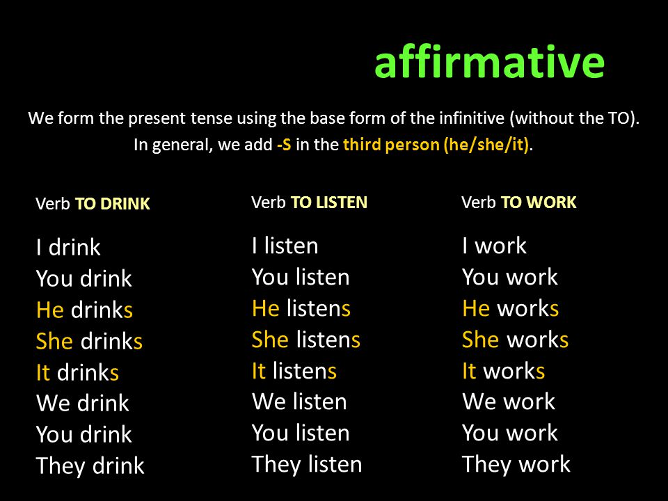 affirmative We form the present tense using the base form of the infinitive (without the TO). In general, we add -S in the third person (he/she/it). V