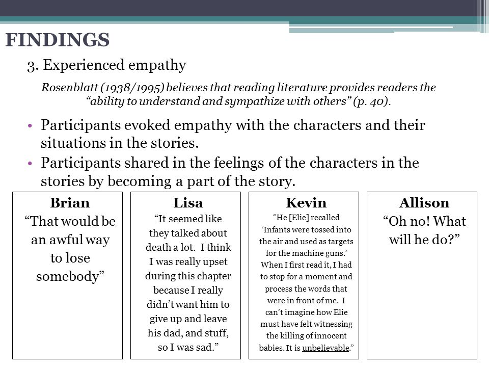 FINDINGS 3. Experienced empathy Participants evoked empathy with the characters and their situations in the stories. Participants shared in the feelin