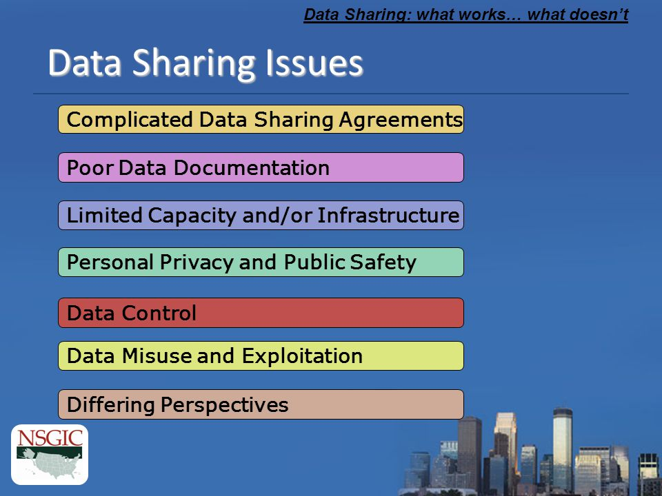 Data Sharing: what works… what doesn't Data Sharing Agreements © The Simpsons What Works: Handshakes and trust Collaboratively developed, effective, standardized data sharing agreements What doesn't: Formal agreements that include imprecise language, serve as road blocks to innovative partnerships and add overhead Over-involvement on the part of Administration and Legal staff that attempt to cover all the bases AR GeoStor U of Wisconsin