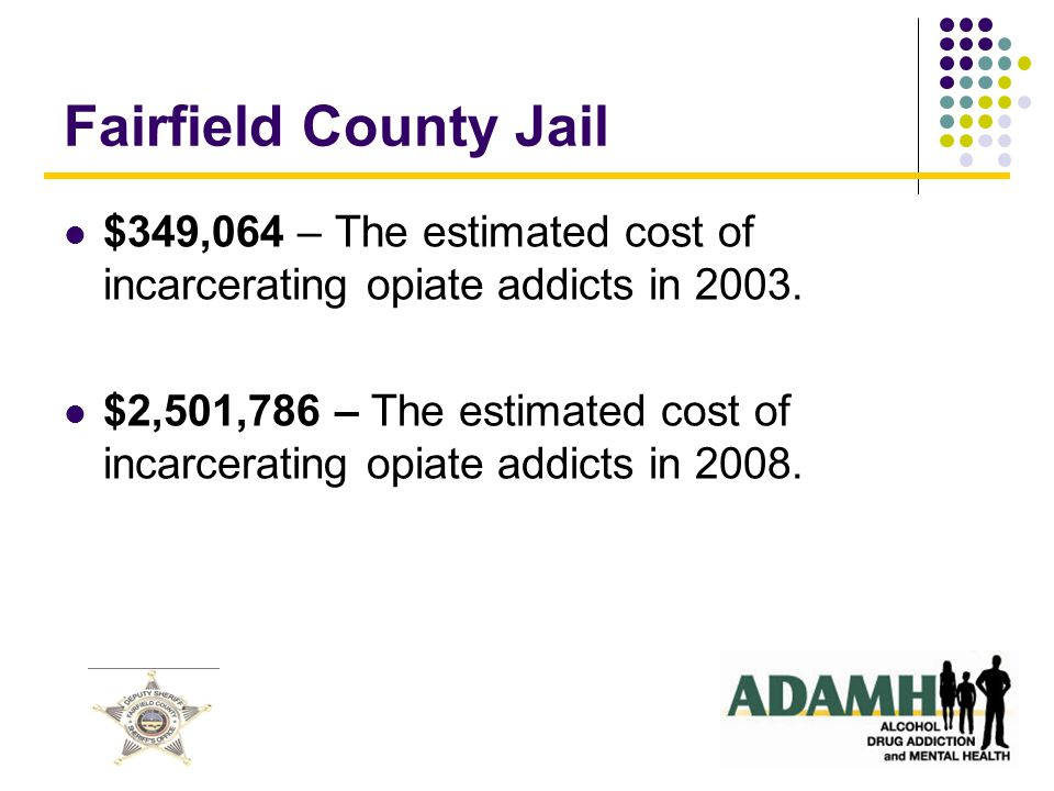 No OpiatesOpiates Present Age Group 18 - 2540.4%53.6% 26 - 3538.3%25.0% 36 - 4511.7%16.1% 46 - 557.4%5.4% 56 -652.1%0.0% 100% Fairfield County - Jail Days By Age and Opiate Status Table 1.