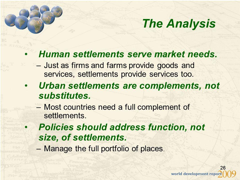 26 The Analysis Human settlements serve market needs.