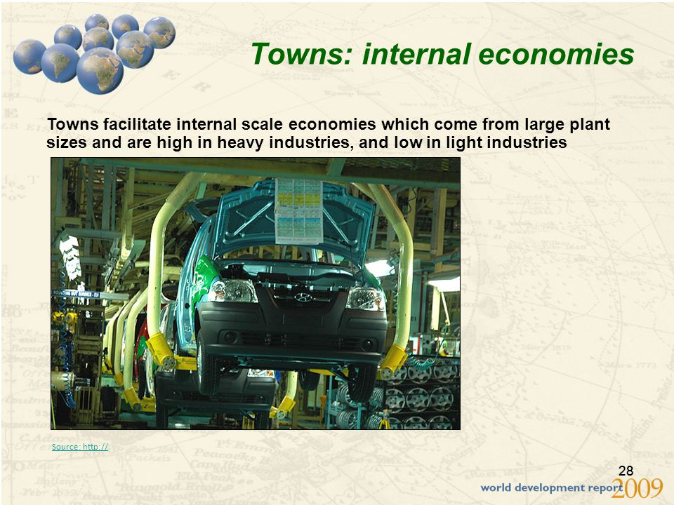 28 Towns: internal economies Towns facilitate internal scale economies which come from large plant sizes and are high in heavy industries, and low in light industries Source: http://