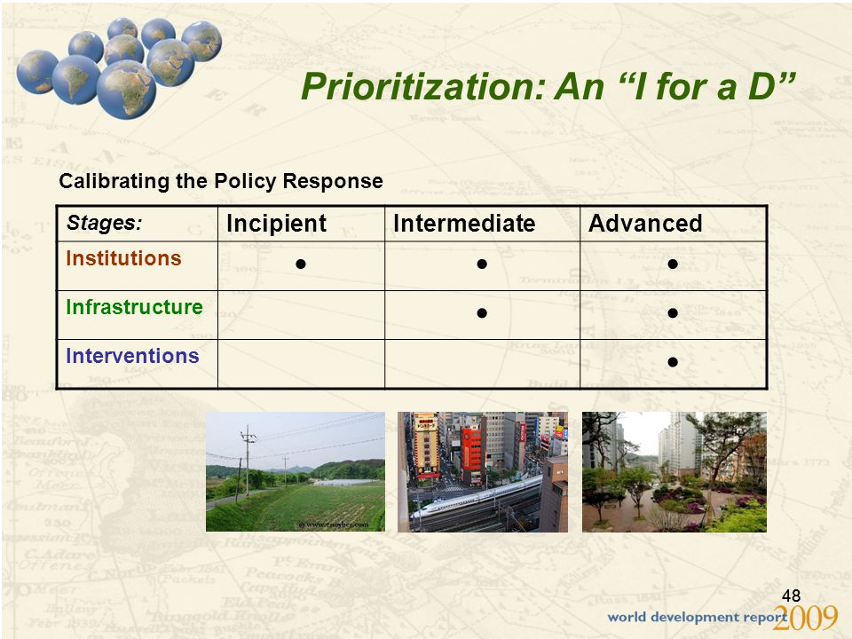 48 Prioritization: An I for a D Stages: IncipientIntermediateAdvanced Institutions  Infrastructure  Interventions  Calibrating the Policy Response