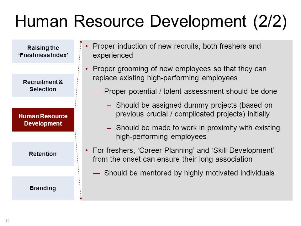 11 Human Resource Development (2/2) Raising the 'Freshness Index' Recruitment & Selection Human Resource Development Retention Branding Proper inducti