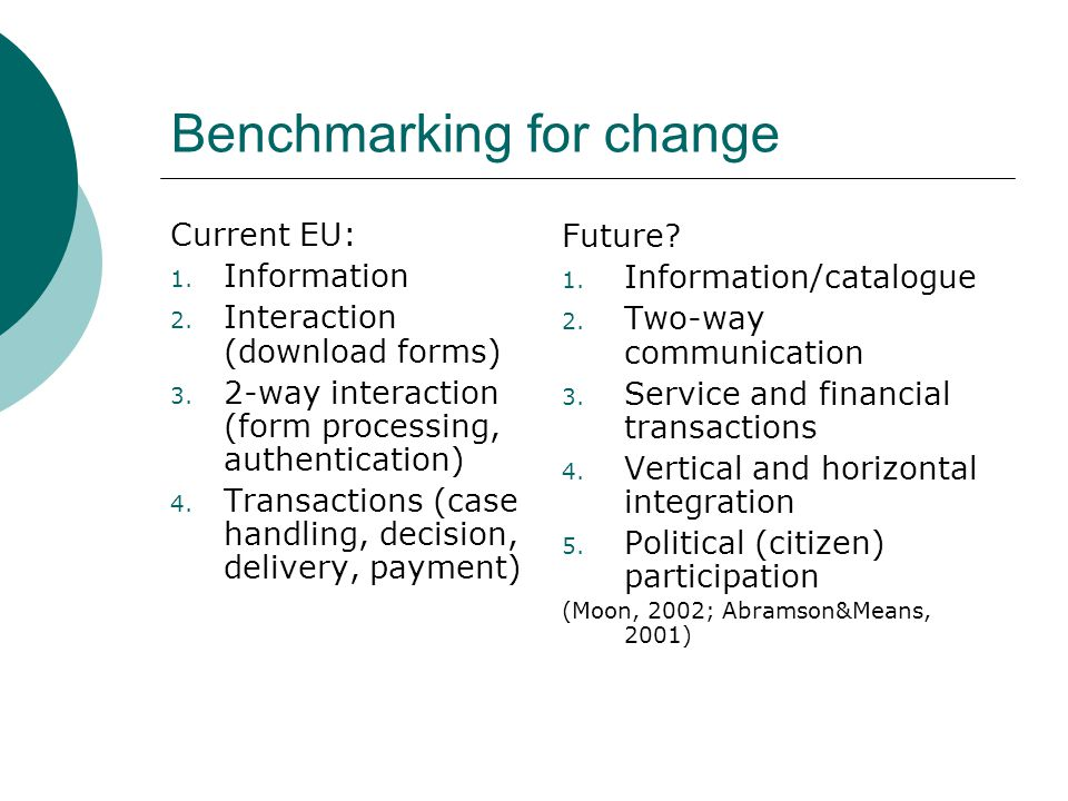 Benchmarking for change Current EU: 1. Information 2.