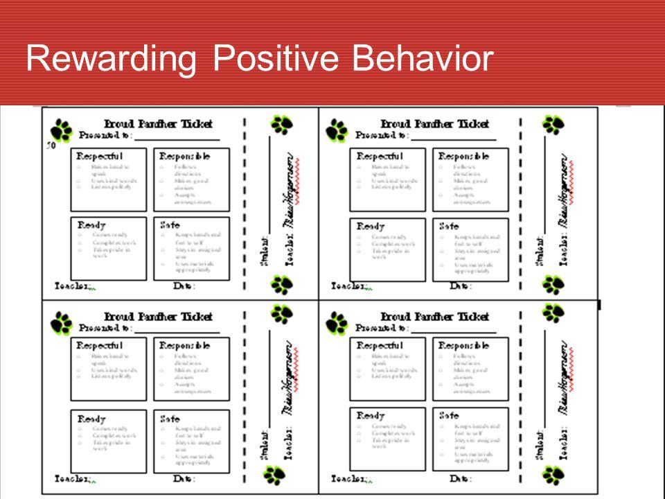 Rewarding Positive Behavior
