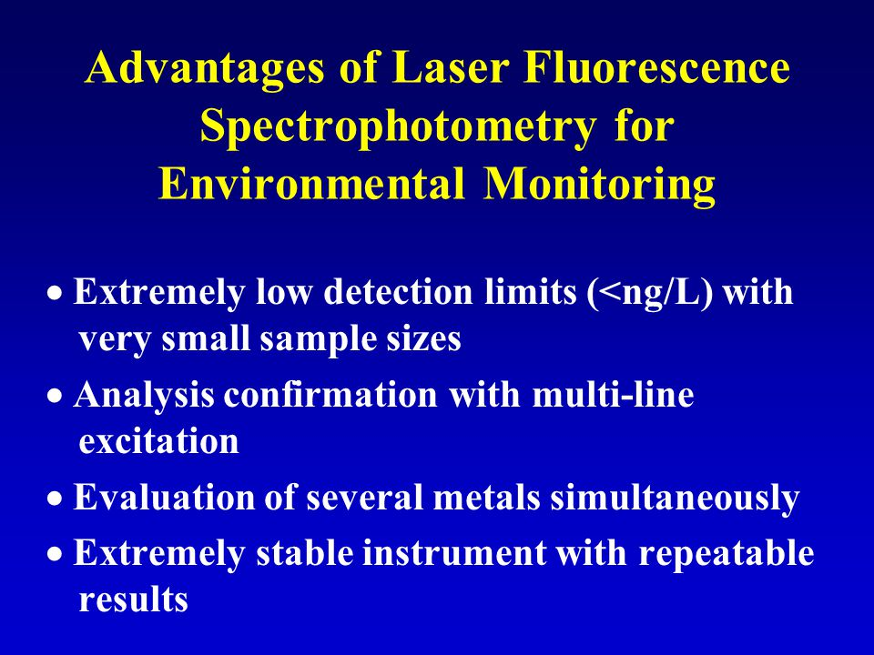Advantages of Laser Fluorescence Spectrophotometry for Environmental Monitoring  Extremely low detection limits (<ng/L) with very small sample sizes