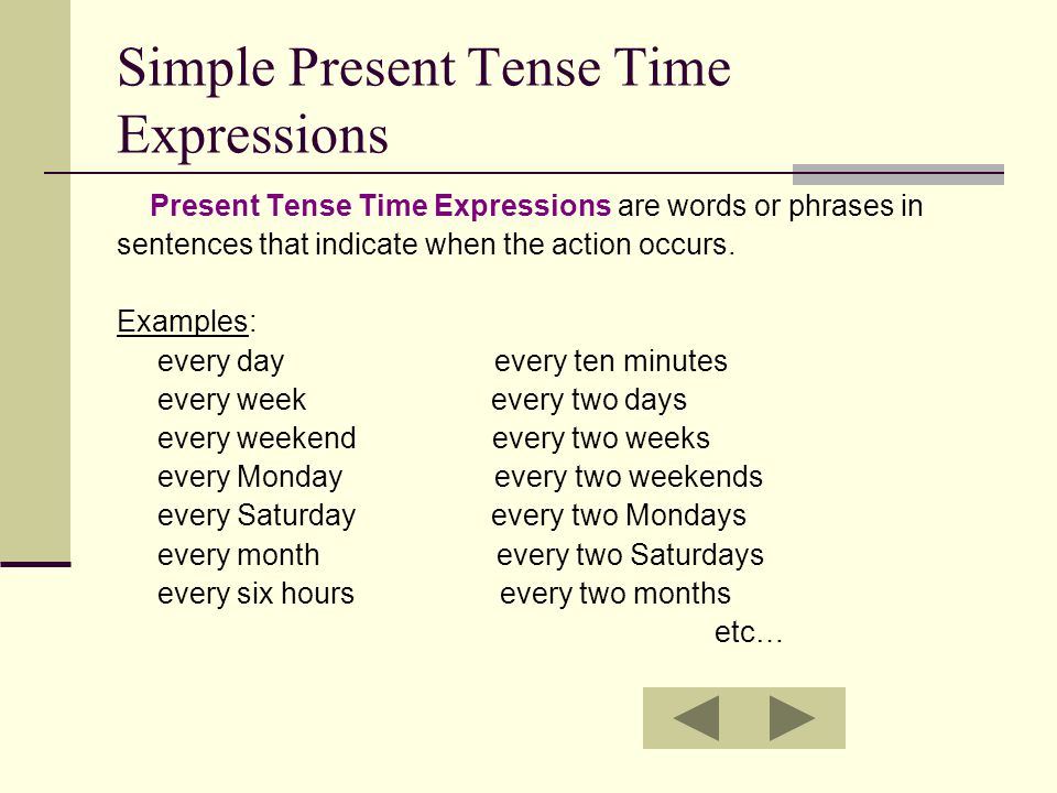 Simple Present Tense Time Expressions Present Tense Time Expressions are words or phrases in sentences that indicate when the action occurs. Examples: