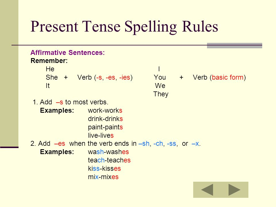 Present Tense Spelling Rules Affirmative Sentences: Remember: He I She + Verb (-s, -es, -ies) You + Verb (basic form) It We They 1. Add –s to most ver