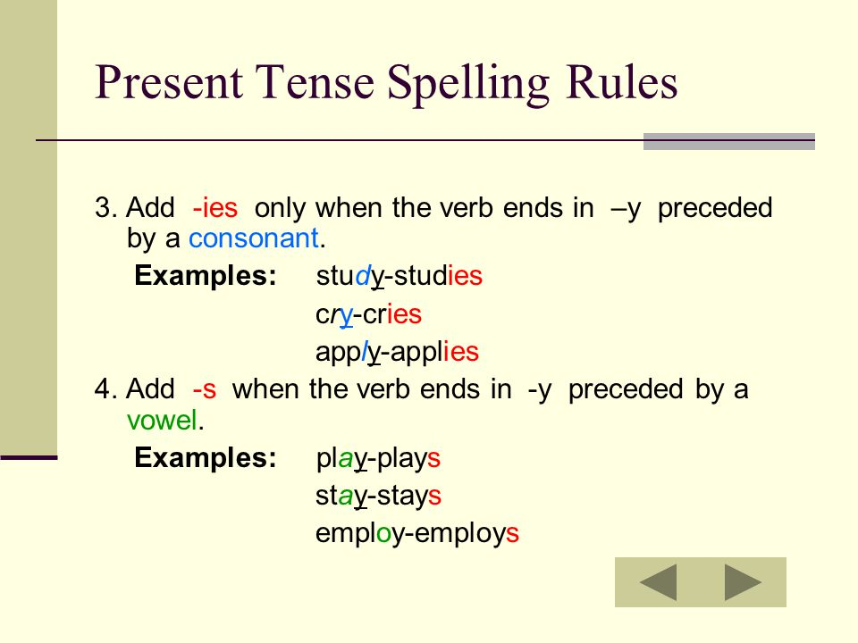 Present Tense Spelling Rules 3. Add -ies only when the verb ends in –y preceded by a consonant. Examples: study-studies cry-cries apply-applies 4. Add