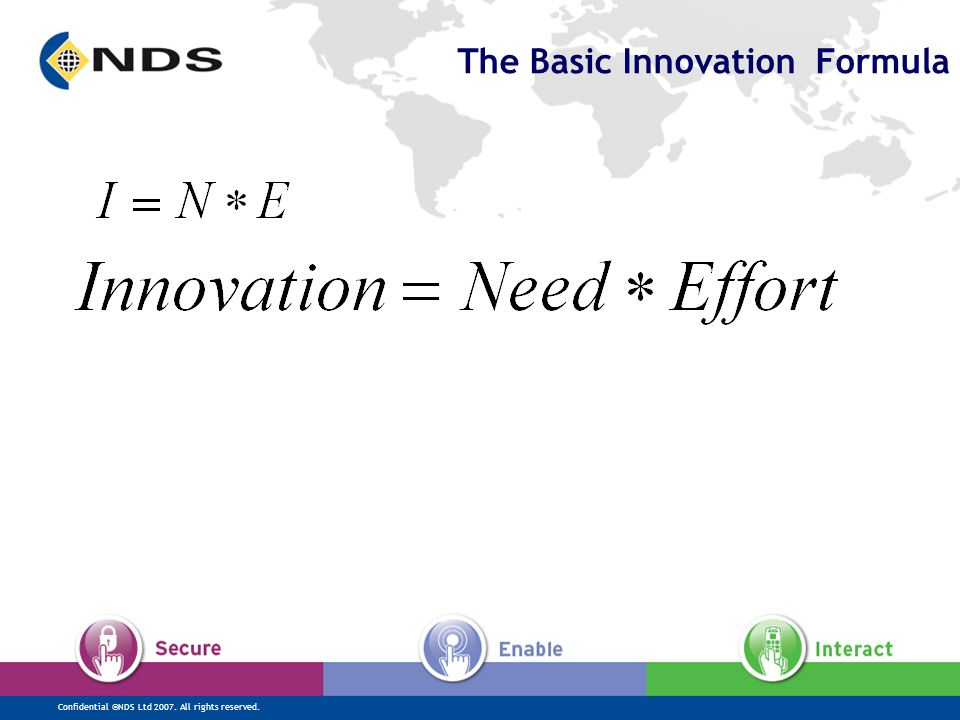 Confidential ©NDS Ltd 2007. All rights reserved. The Basic Innovation Formula