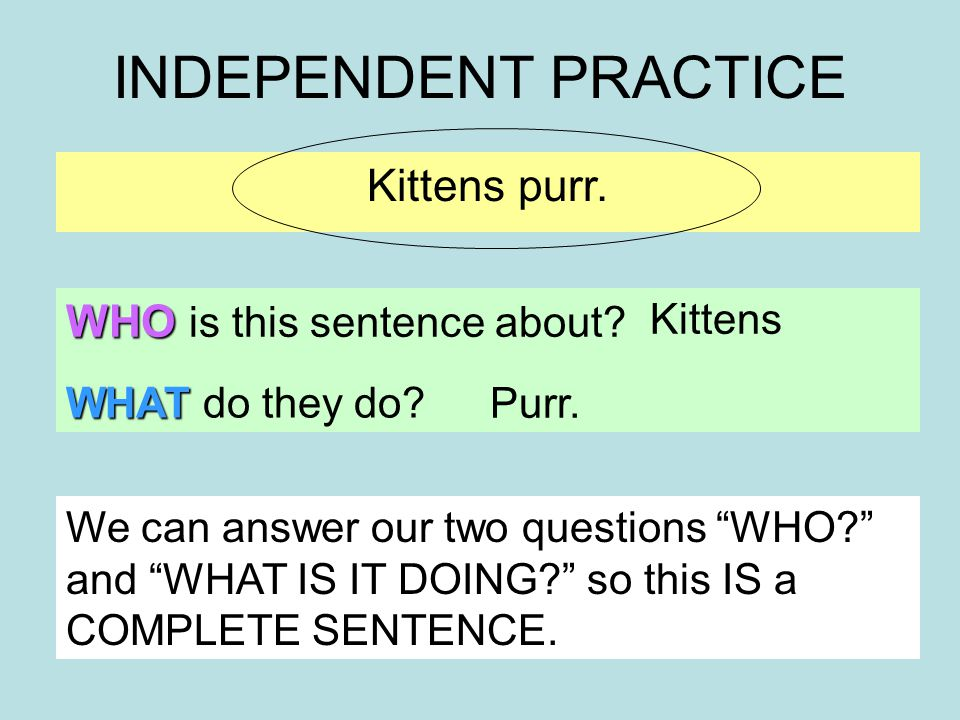 INDEPENDENT PRACTICE Kittens purr. WHO is this sentence about.