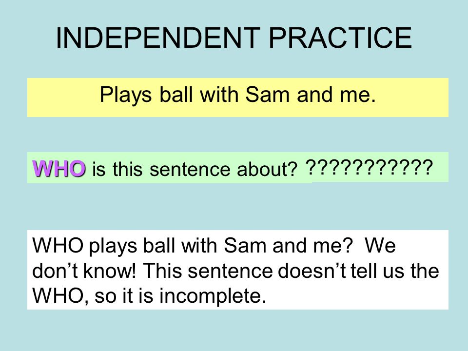 INDEPENDENT PRACTICE Plays ball with Sam and me. WHO is this sentence about.