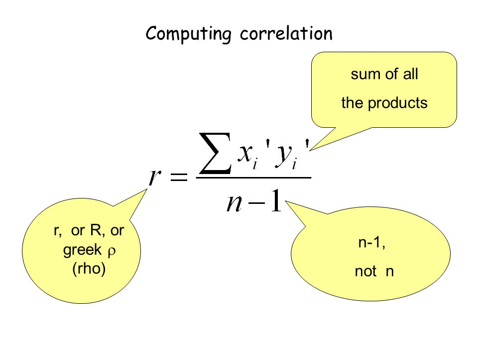 Computing correlation r, or R, or greek  (rho) n-1, not n sum of all the products