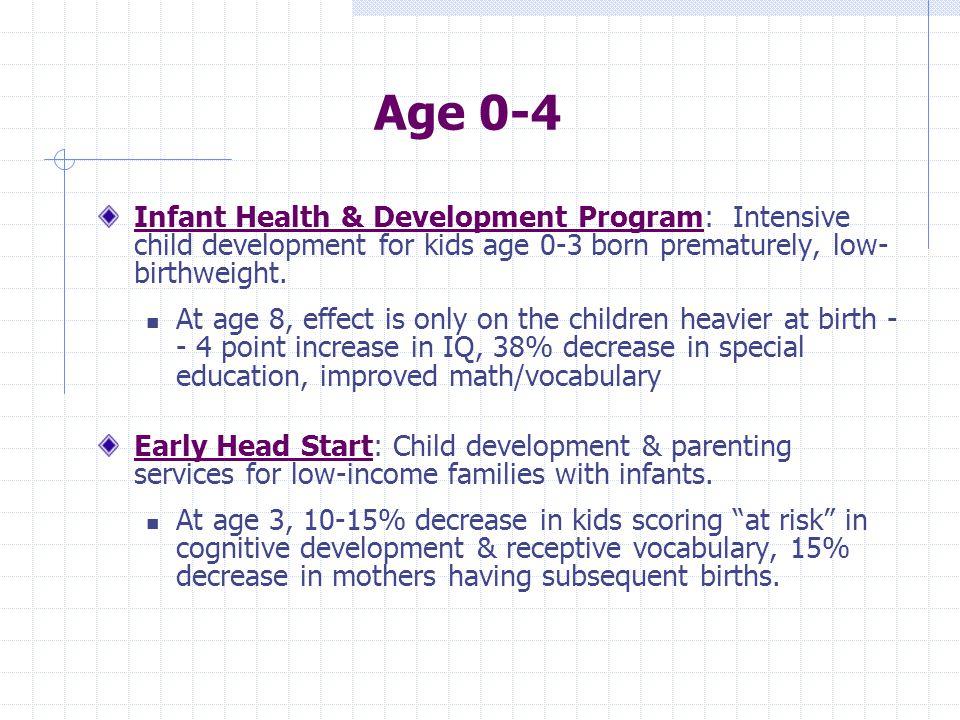 Age 0-4 Infant Health & Development Program: Intensive child development for kids age 0-3 born prematurely, low- birthweight.