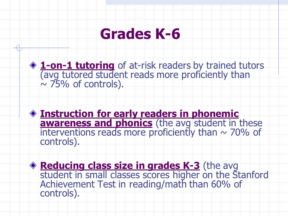 Grades K-6 1-on-1 tutoring of at-risk readers by trained tutors (avg tutored student reads more proficiently than ~ 75% of controls).