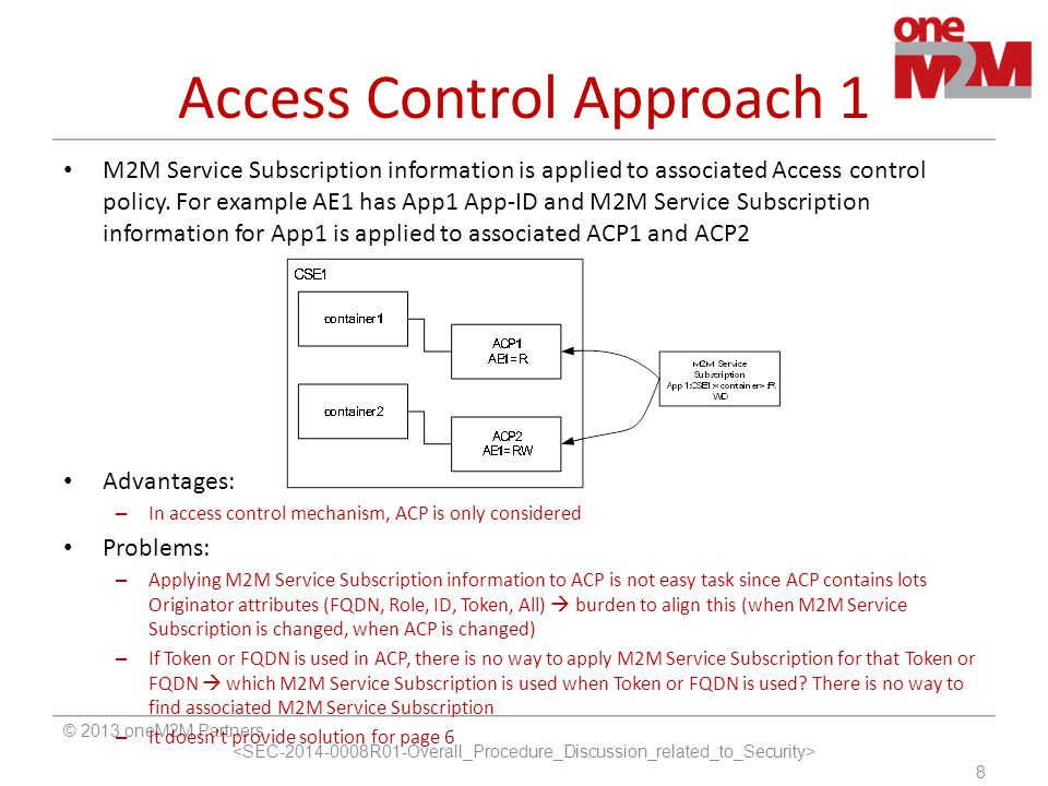 Access Control Approach 1 © 2013 oneM2M Partners 8 M2M Service Subscription information is applied to associated Access control policy. For example AE