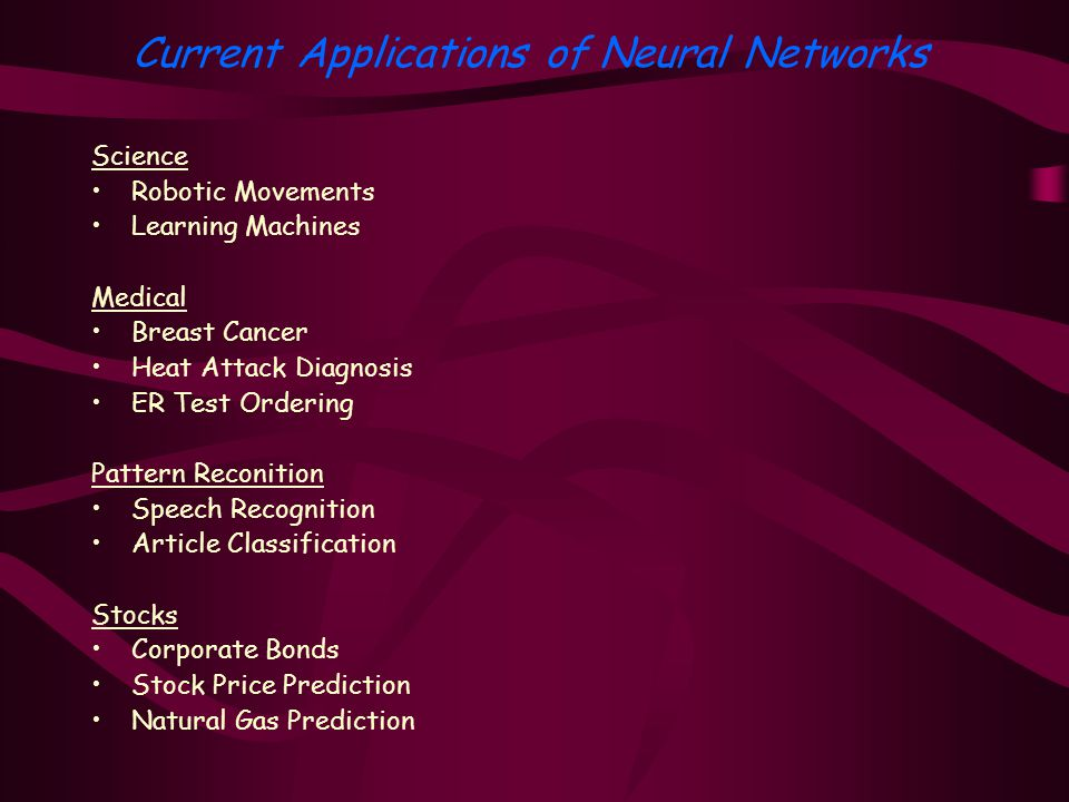 Science Robotic Movements Learning Machines Medical Breast Cancer Heat Attack Diagnosis ER Test Ordering Pattern Reconition Speech Recognition Article Classification Stocks Corporate Bonds Stock Price Prediction Natural Gas Prediction Current Applications of Neural Networks