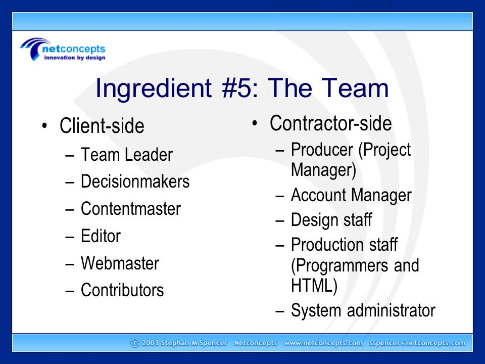 Ingredient #5: The Team Client-side –Team Leader –Decisionmakers –Contentmaster –Editor –Webmaster –Contributors Contractor-side –Producer (Project Manager) –Account Manager –Design staff –Production staff (Programmers and HTML) –System administrator