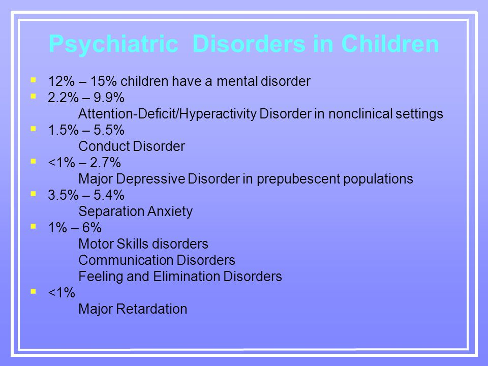 Psychiatric Disorders in Children  12% – 15% children have a mental disorder  2.2% – 9.9% Attention-Deficit/Hyperactivity Disorder in nonclinical settings  1.5% – 5.5% Conduct Disorder  <1% – 2.7% Major Depressive Disorder in prepubescent populations  3.5% – 5.4% Separation Anxiety  1% – 6% Motor Skills disorders Communication Disorders Feeling and Elimination Disorders  <1% Major Retardation