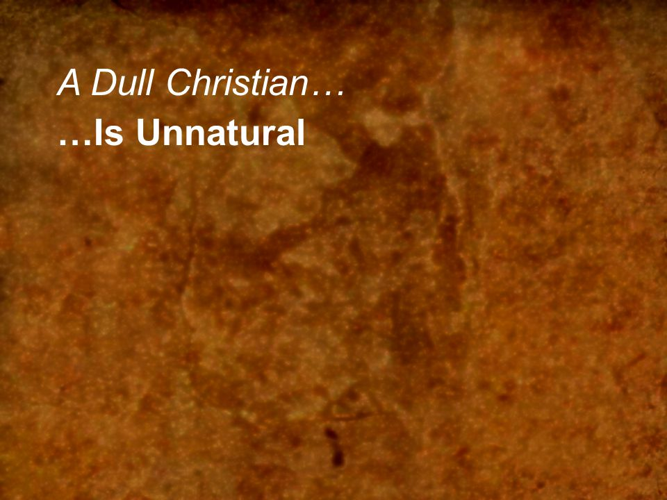 A Dull Christian… …Is Unnatural …Is Intentionally Dull …Is Stuck in Basics …Eats only Milk …Is Unskilled in Word doesn't study doesn't apply doesn't discern …Doesn't Reproduce A mature Christian… …grows normally …is pressing higher