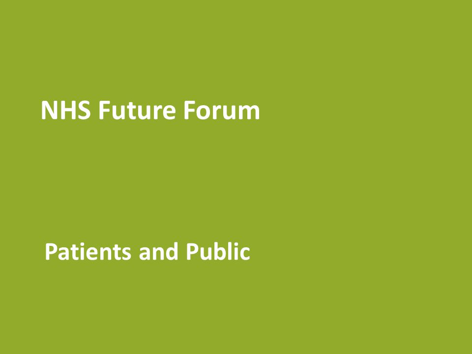 NHS Future Forum Patients and Public