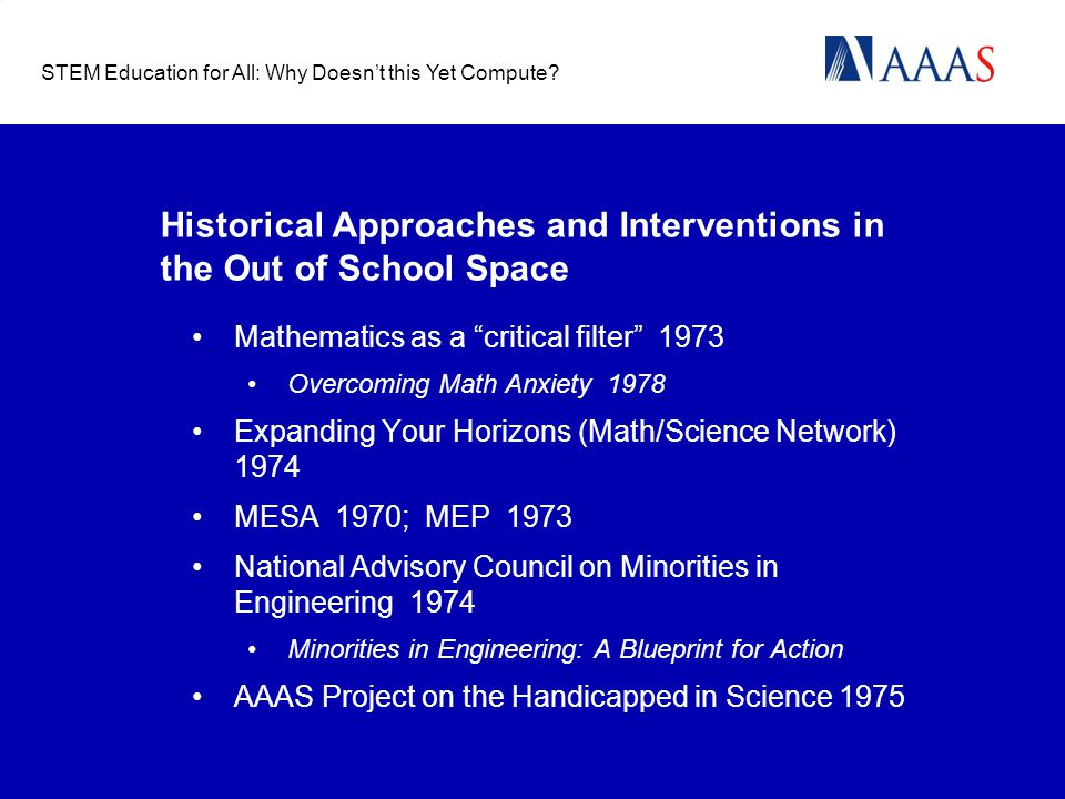 "Historical Approaches and Interventions in the Out of School Space Mathematics as a ""critical filter"" 1973 Overcoming Math Anxiety 1978 Expanding Your"