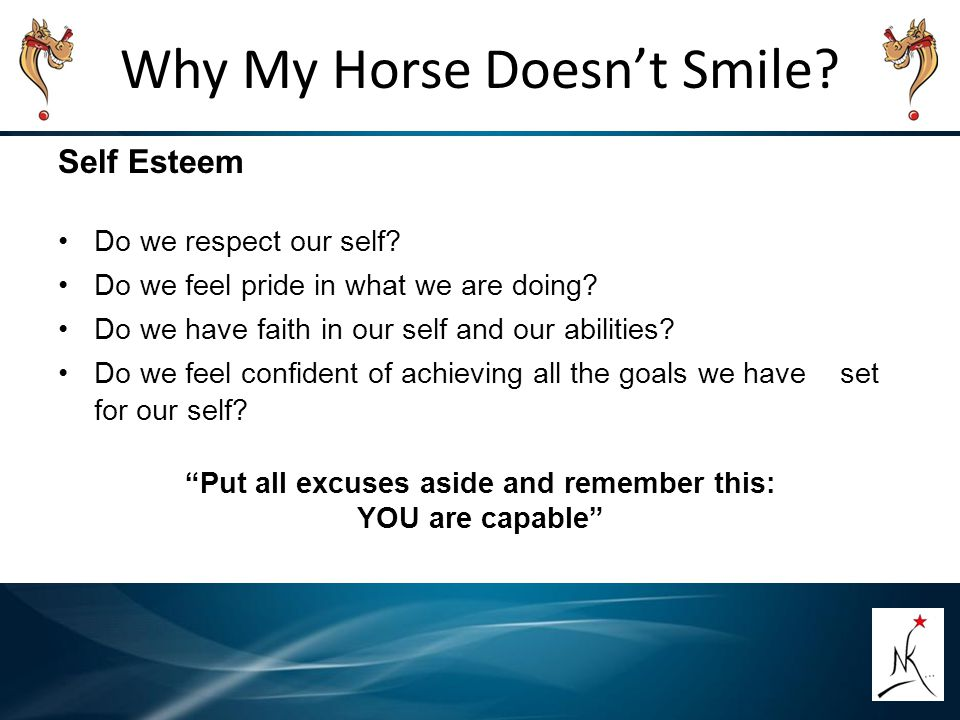 Why My Horse Doesn't Smile? Self Esteem Do we respect our self? Do we feel pride in what we are doing? Do we have faith in our self and our abilities?
