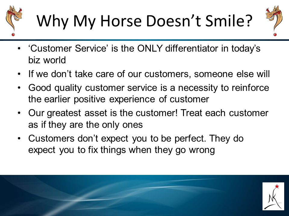 Why My Horse Doesn't Smile? 'Customer Service' is the ONLY differentiator in today's biz world If we don't take care of our customers, someone else wi