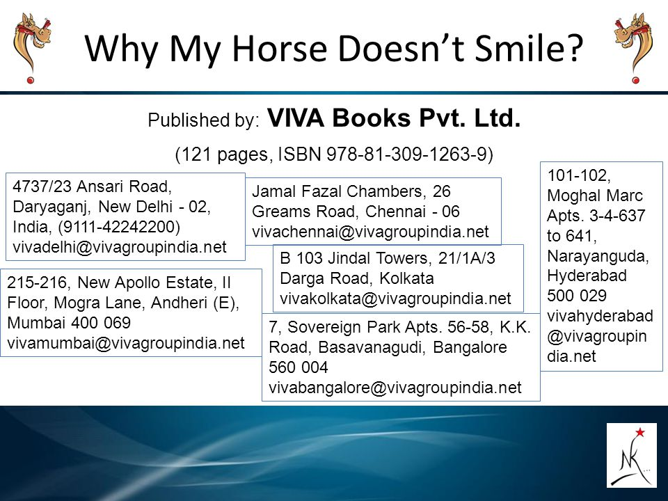 Why My Horse Doesn't Smile? Published by: VIVA Books Pvt. Ltd. (121 pages, ISBN 978-81-309-1263-9) 4737/23 Ansari Road, Daryaganj, New Delhi - 02, Ind