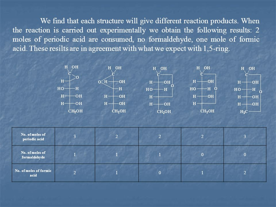 We find that each structure will give different reaction products.
