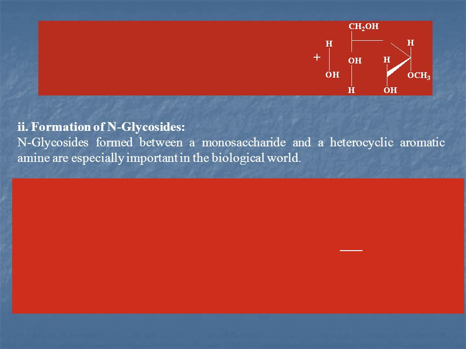 ii. Formation of N-Glycosides: N-Glycosides formed between a monosaccharide and a heterocyclic aromatic amine are especially important in the biologic