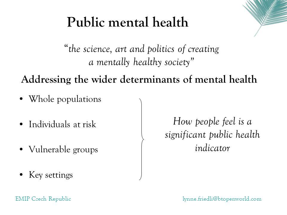 EMIP Czech Republiclynne.friedli@btopenworld.com Pathways of Impact: Mental health impact Mental health promotion health Human capital Identity capital Social capital Economic capital
