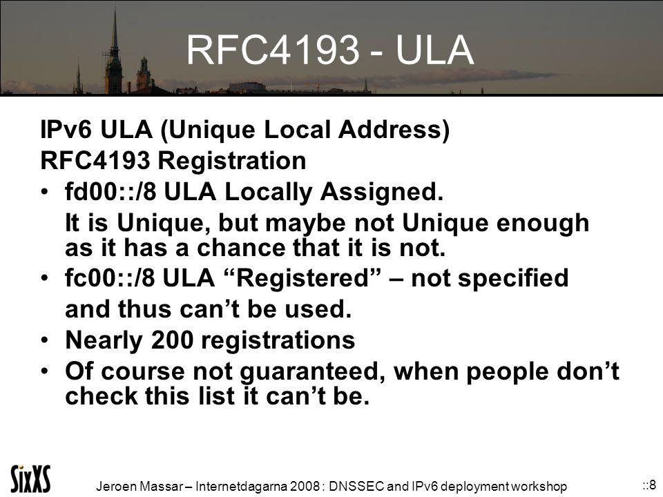 Jeroen Massar – Internetdagarna 2008 : DNSSEC and IPv6 deployment workshop ::8 RFC4193 - ULA IPv6 ULA (Unique Local Address) RFC4193 Registration fd00::/8 ULA Locally Assigned.