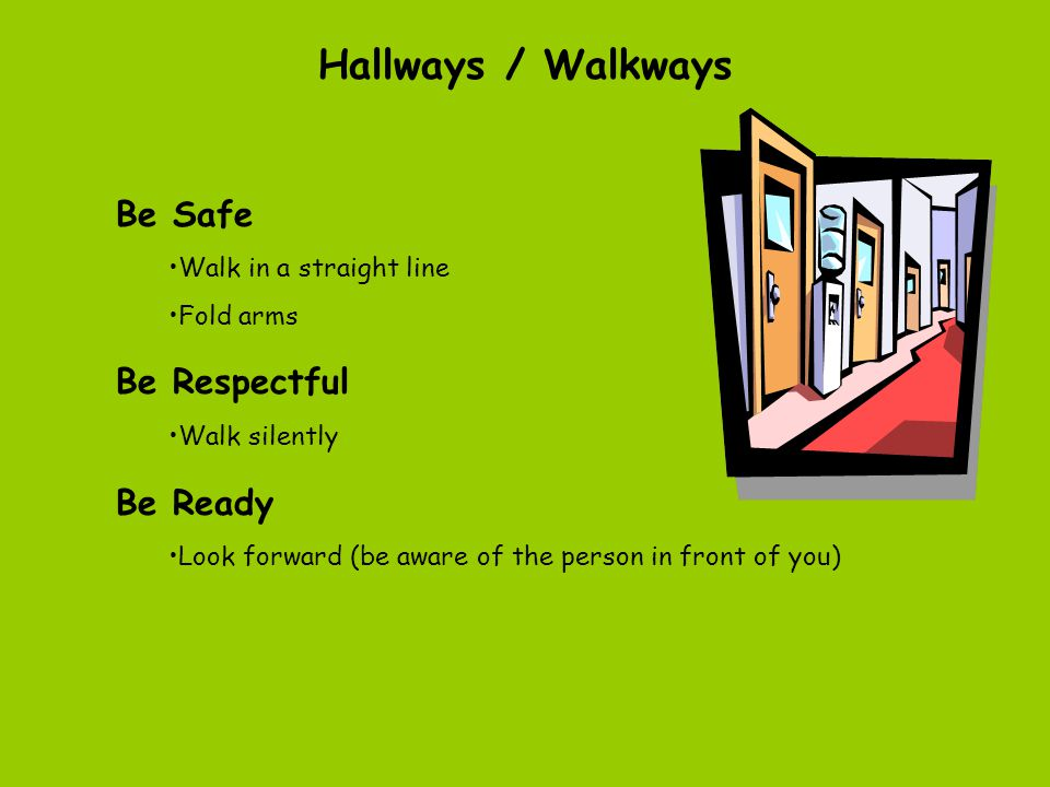 Playground Be Safe Walk to and from the playground Stay within boundaries Keep hands and feet to self Use equipment properly Be Respectful Include eve