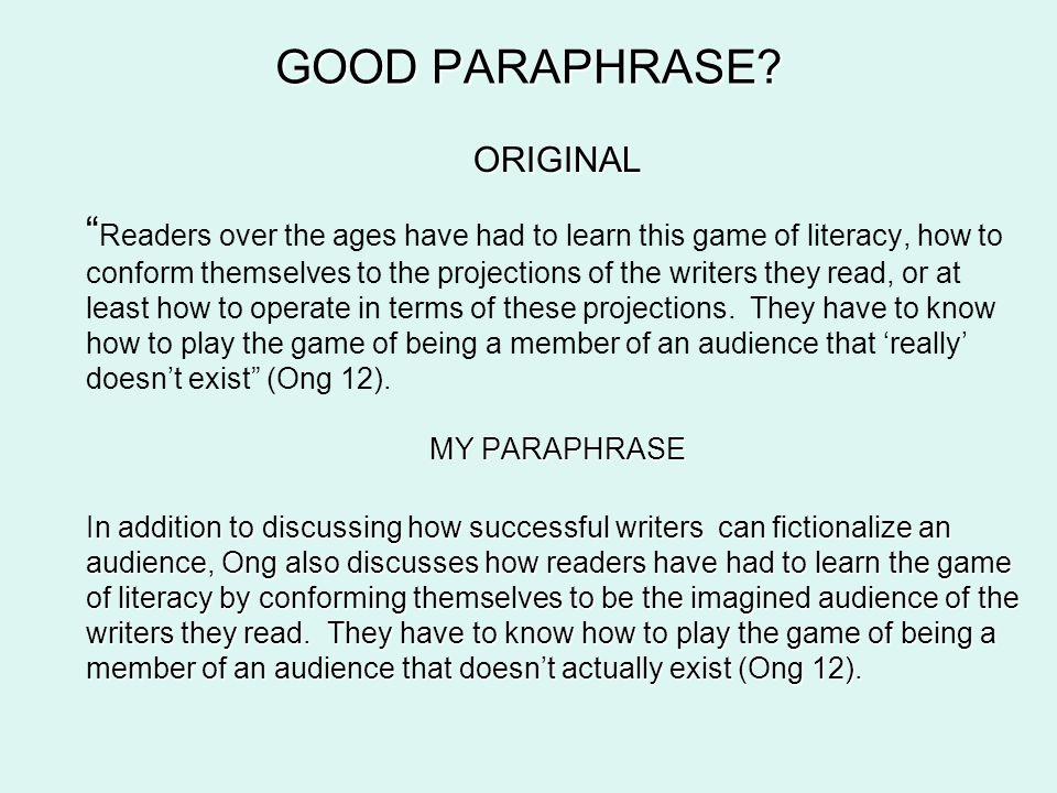 GOOD PARAPHRASE.