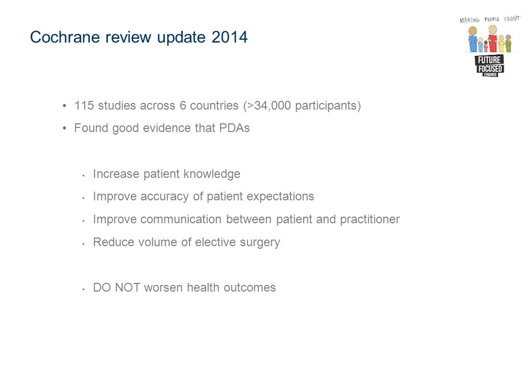 Cochrane review update 2014 115 studies across 6 countries (>34,000 participants) Found good evidence that PDAs Increase patient knowledge Improve acc