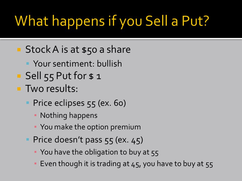  Stock A is at $50 a share  Your sentiment: bullish  Sell 55 Put for $ 1  Two results:  Price eclipses 55 (ex.