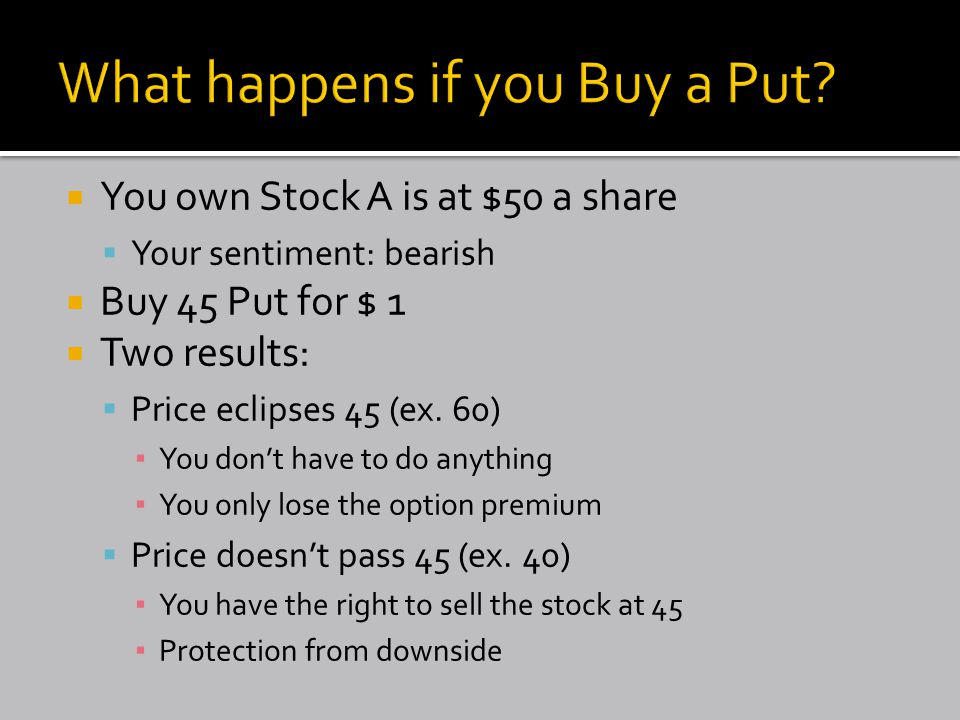  You own Stock A is at $50 a share  Your sentiment: bearish  Buy 45 Put for $ 1  Two results:  Price eclipses 45 (ex.