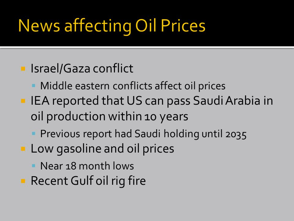  Israel/Gaza conflict  Middle eastern conflicts affect oil prices  IEA reported that US can pass Saudi Arabia in oil production within 10 years  Previous report had Saudi holding until 2035  Low gasoline and oil prices  Near 18 month lows  Recent Gulf oil rig fire