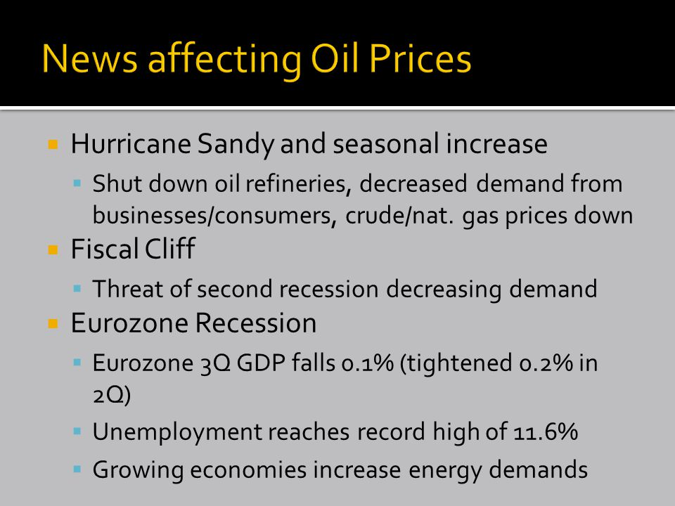  Hurricane Sandy and seasonal increase  Shut down oil refineries, decreased demand from businesses/consumers, crude/nat.