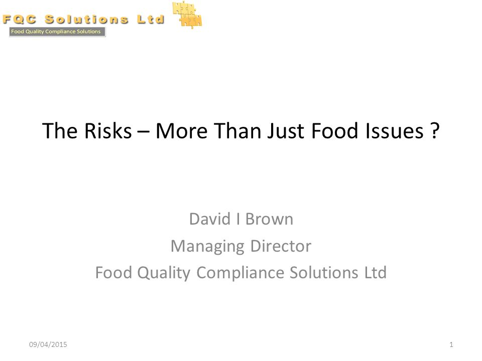 The Risks – More Than Just Food Issues .