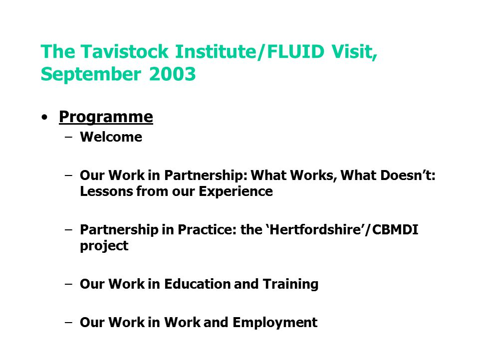 The Tavistock Institute/FLUID Visit, September 2003 Programme –Welcome –Our Work in Partnership: What Works, What Doesn't: Lessons from our Experience –Partnership in Practice: the 'Hertfordshire'/CBMDI project –Our Work in Education and Training –Our Work in Work and Employment