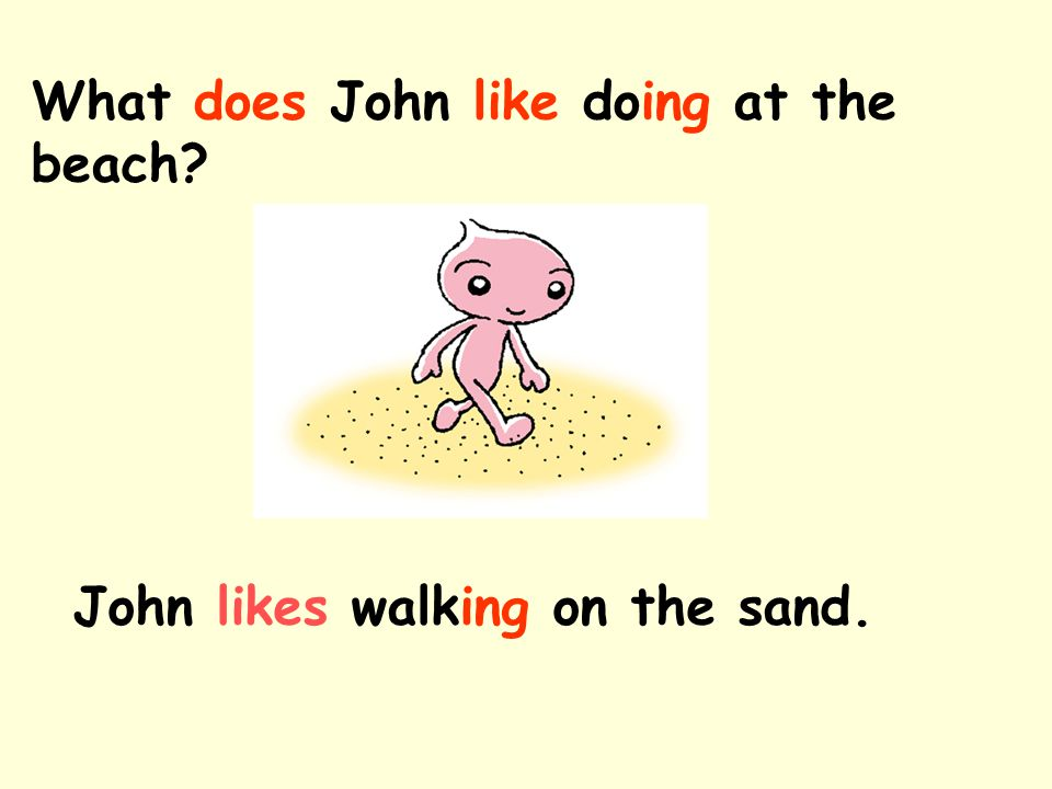 What does John like doing at the beach? John likes walking on the sand.