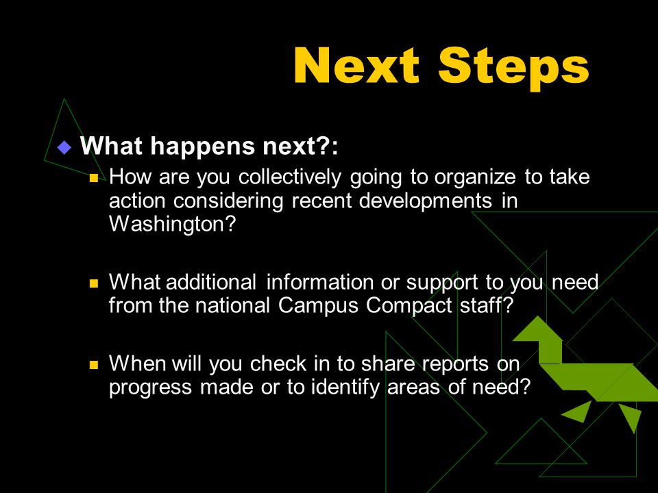 Next Steps  What happens next?: How are you collectively going to organize to take action considering recent developments in Washington? What additio
