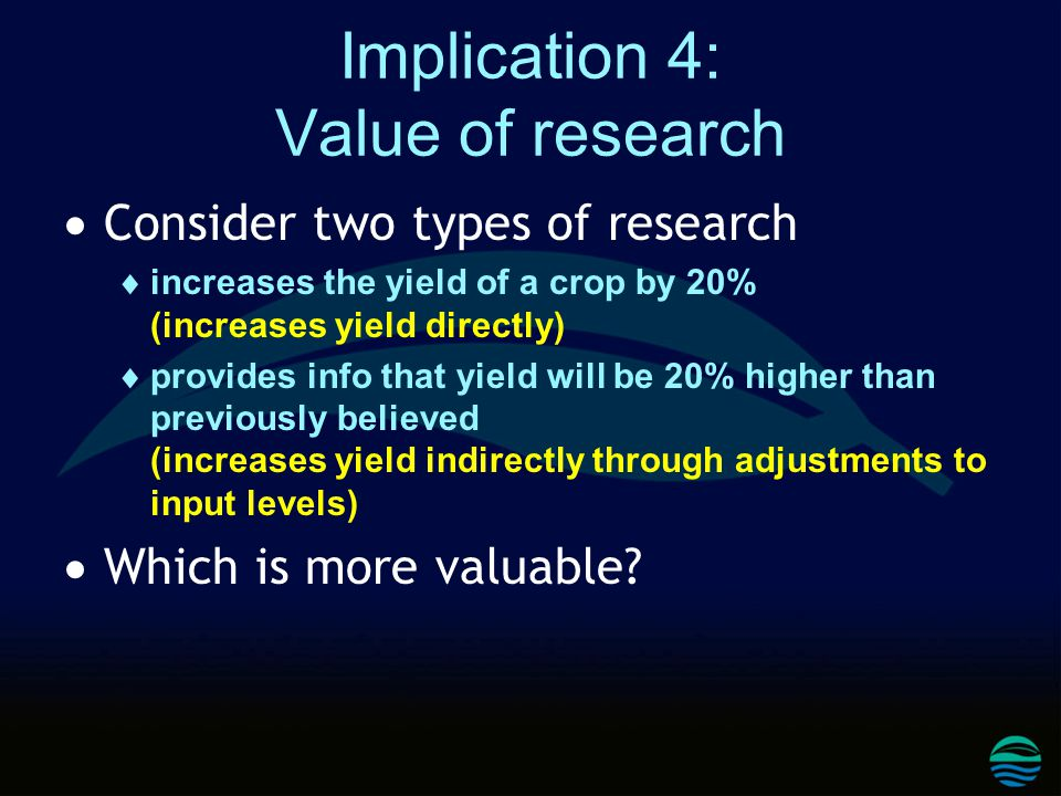 Implication 4: Value of research  Consider two types of research  increases the yield of a crop by 20% (increases yield directly)  provides info that yield will be 20% higher than previously believed (increases yield indirectly through adjustments to input levels)  Which is more valuable?