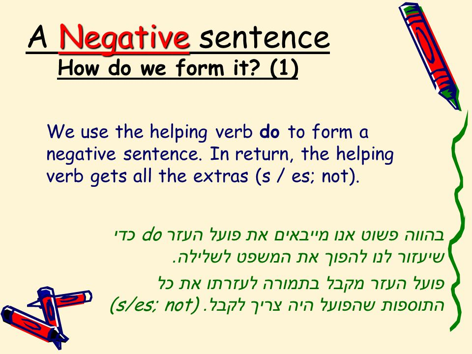Negative A Negative sentence How do we form it.