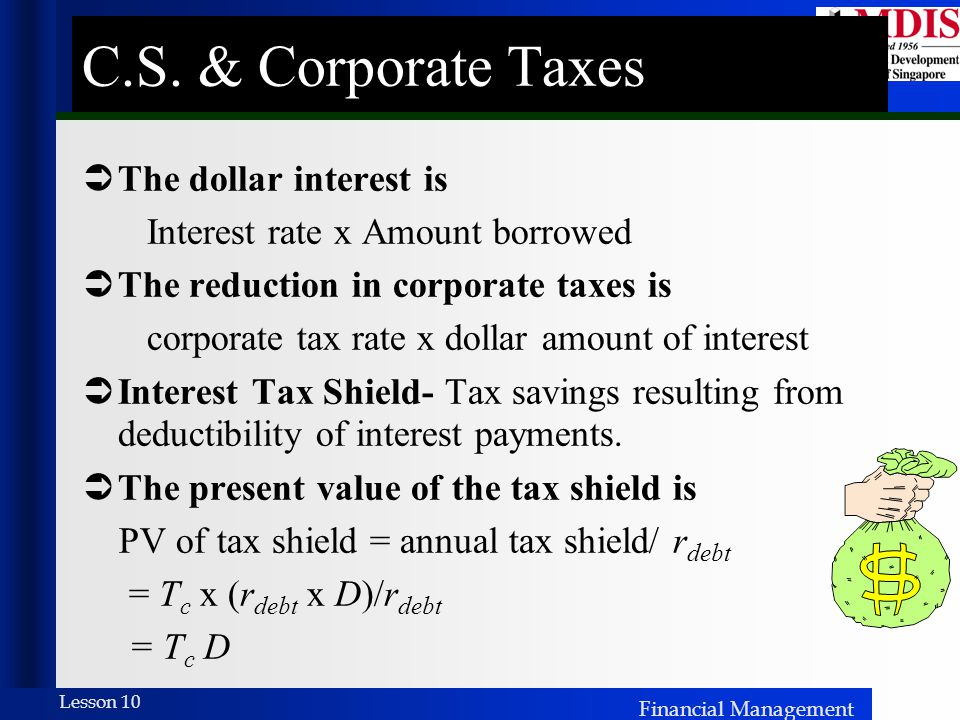 Financial Management Lesson 10  The dollar interest is Interest rate x Amount borrowed  The reduction in corporate taxes is corporate tax rate x dollar amount of interest  Interest Tax Shield- Tax savings resulting from deductibility of interest payments.