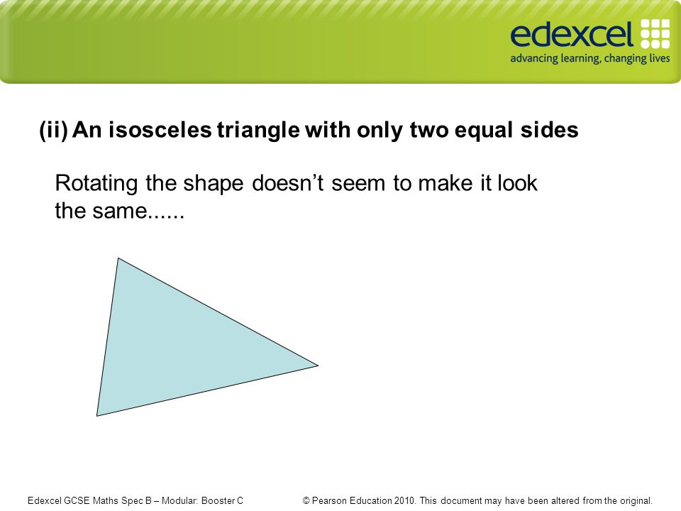 Edexcel GCSE Maths Spec B – Modular: Booster C © Pearson Education 2010.