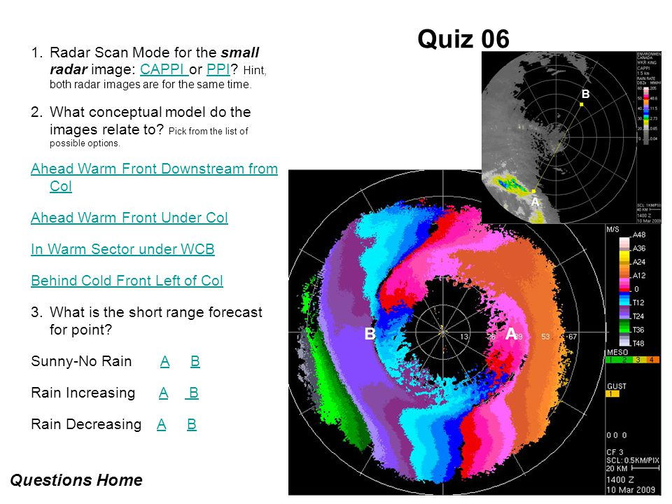 Quiz 06 1.Radar Scan Mode for the small radar image: CAPPI or PPI? Hint, both radar images are for the same time.CAPPI PPI 2.What conceptual model do